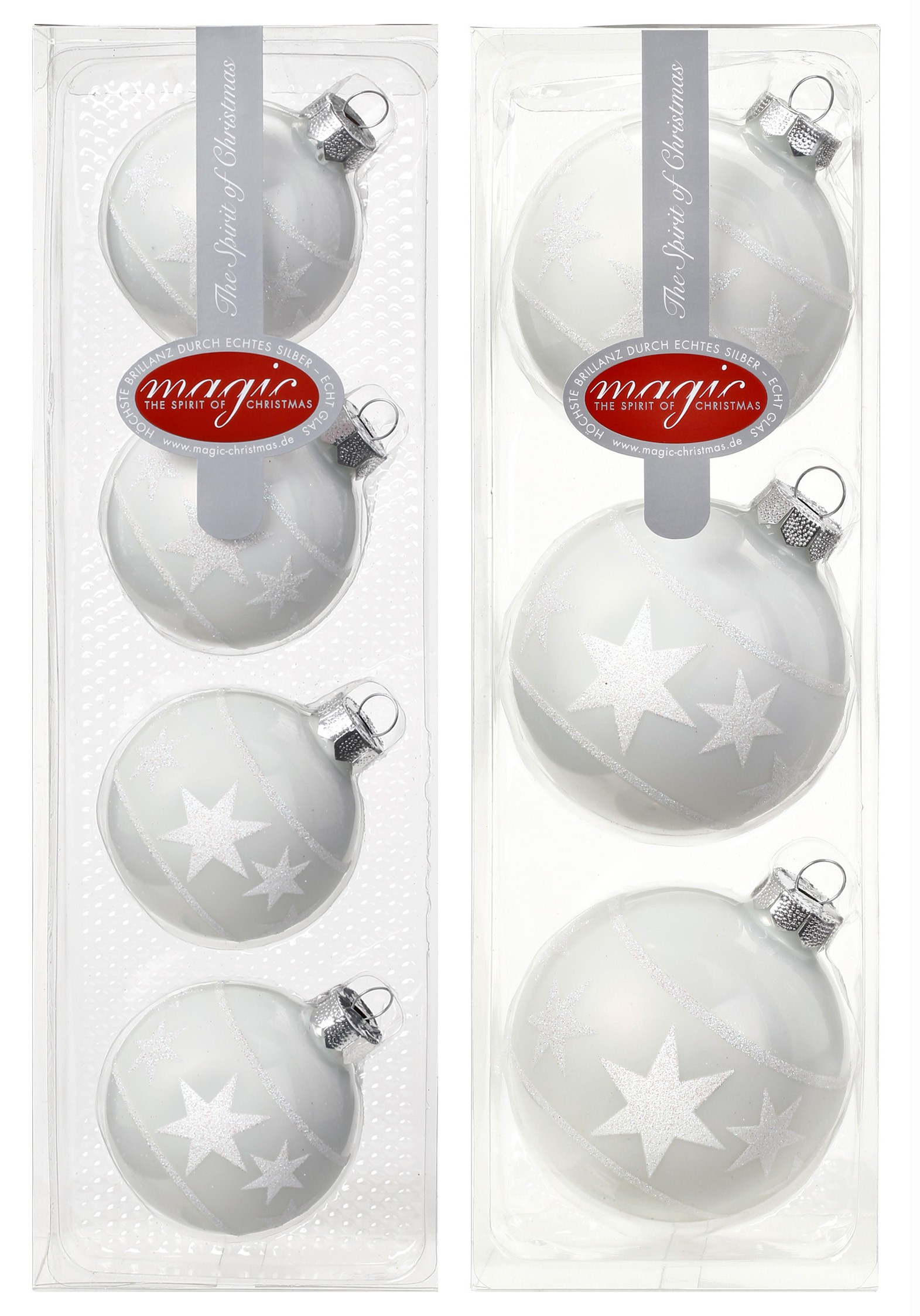 Christbaumkugeln glas dekor wei saisonartikel weihnachten for Glas mit kugeln dekorieren
